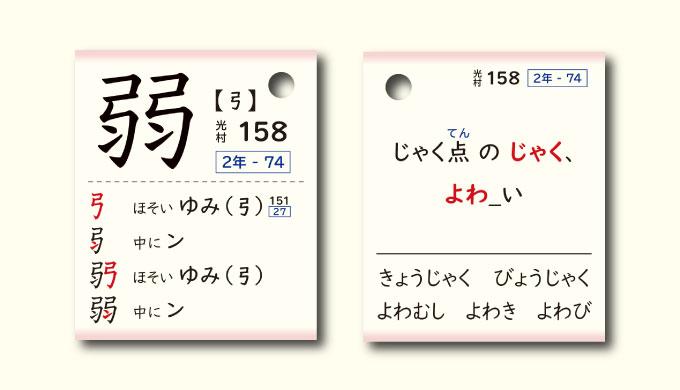 「弱」漢字カード